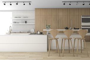 木制,厨房,极简构图,三维图形,屏风分区,饭厅,柜子,厨房用品商店,现代,微波炉