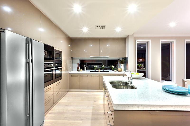 冰箱,厨房,极简构图,井,现代,高雅,餐具,水平画幅,夜晚,无人