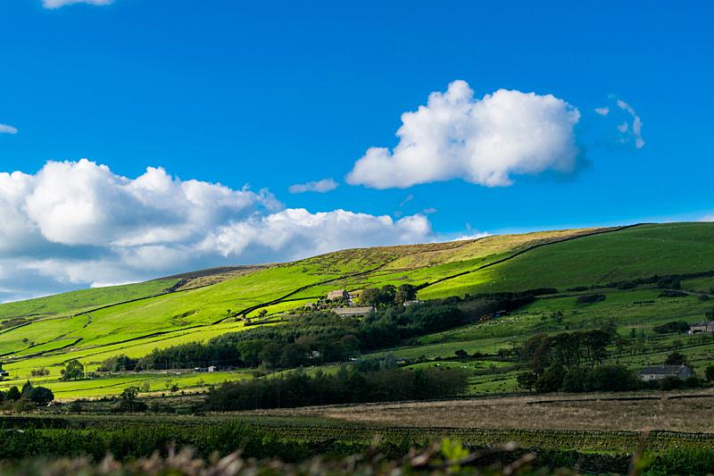 夏天,农场,山,天空,停泊的,旷野,摩尔人风格,水平画幅,无人,英格兰