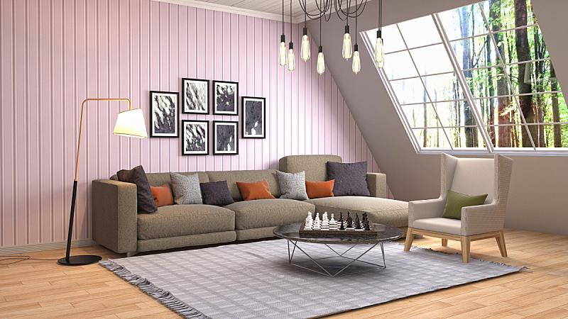 室内,起居室,绘画插图,三维图形,水晶吊灯,扶手椅,花瓶,枕头,褐色,座位