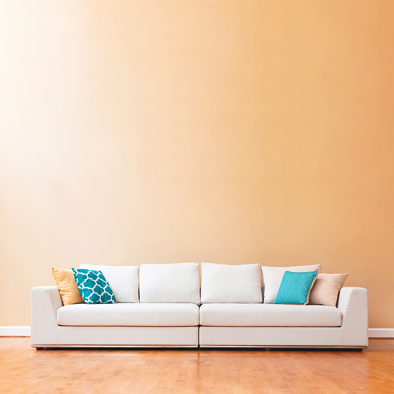 巨大的,沙发,华贵,白色,住宅内部,美,无人,太空,家具,光
