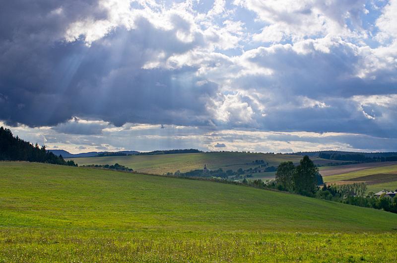 黑云压城,草地,云,在下面,天空,暴风雨,水平画幅,山,无人,夏天