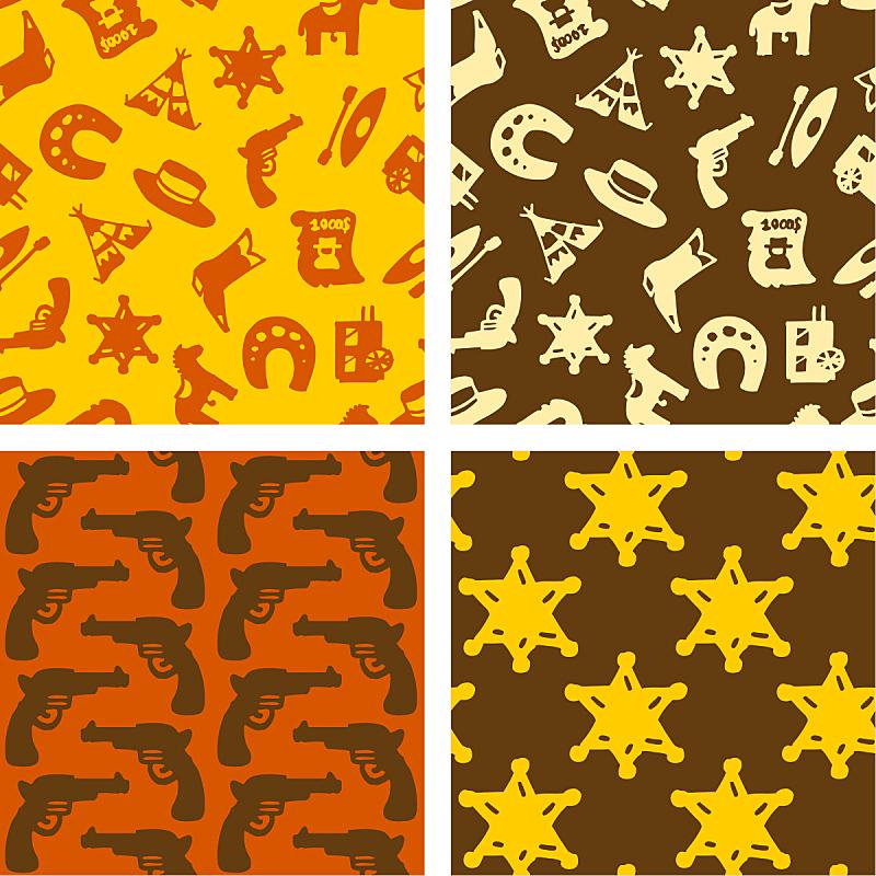 美国西部,劳作动物,警长,马蹄铁,过去,四方连续纹样,马车,绘画插图,靴子