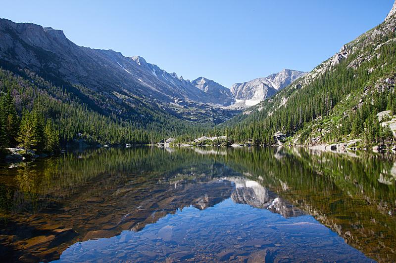 湖,科罗拉多州,传统风车,国家公园,洛矶山脉,水平画幅,高视角,早晨,旅行者,夏天
