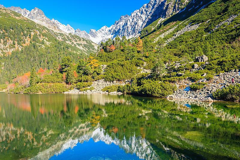 塔特里山脉,湖,秋天,斯洛伐克,颜色,山脉,西塔特拉山,水,天空,雪
