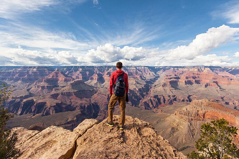 徒步旅行,背包,风景,男人,天空,水平画幅,山,沙子,大峡谷南缘,旅行者
