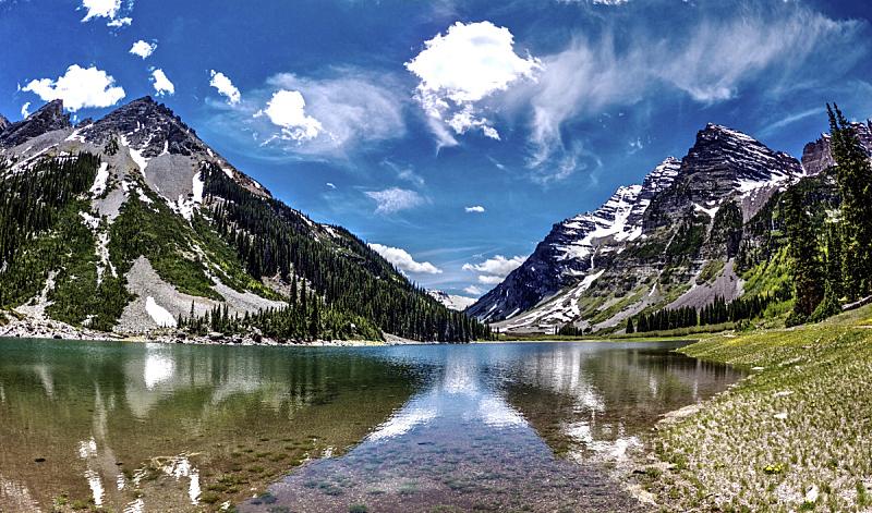 山脉,湖,云,玛尔露恩贝尔峰,科罗拉多州,非凡的,山,岩石,地形,水