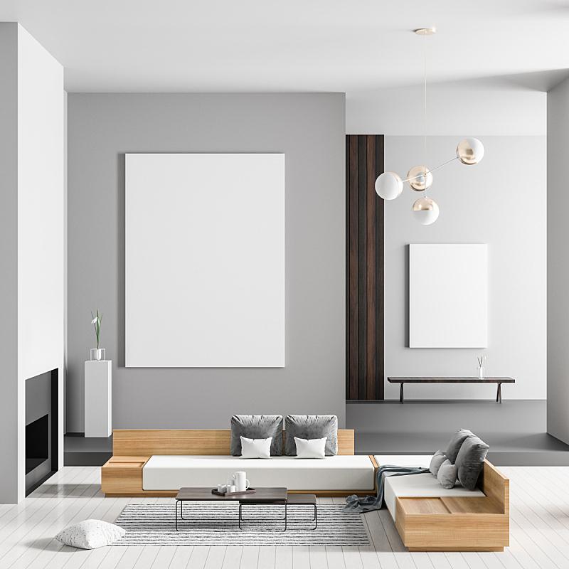 华贵,边框,现代,壁炉,室内,三维图形,极简构图,绘画插图,宽的