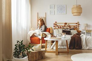 女人,毯子,休闲活动,家庭生活,家具,明亮,凌乱,斯堪的纳维亚人,模板,青年人