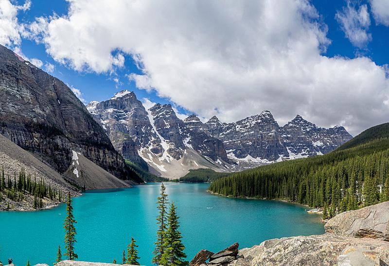 梦莲湖,班夫,冰碛,水,天空,美,水平画幅,高视角,山,雪