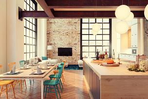现代,公寓,室内,潮人,留白,灯,家具,光,居住区,模板