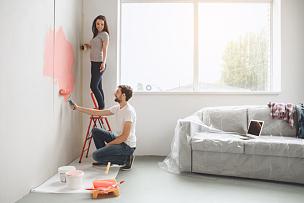 公寓,青年伴侣,自己动手,涂料,房屋,乌克兰,家庭生活,滚刷,伴侣,家务
