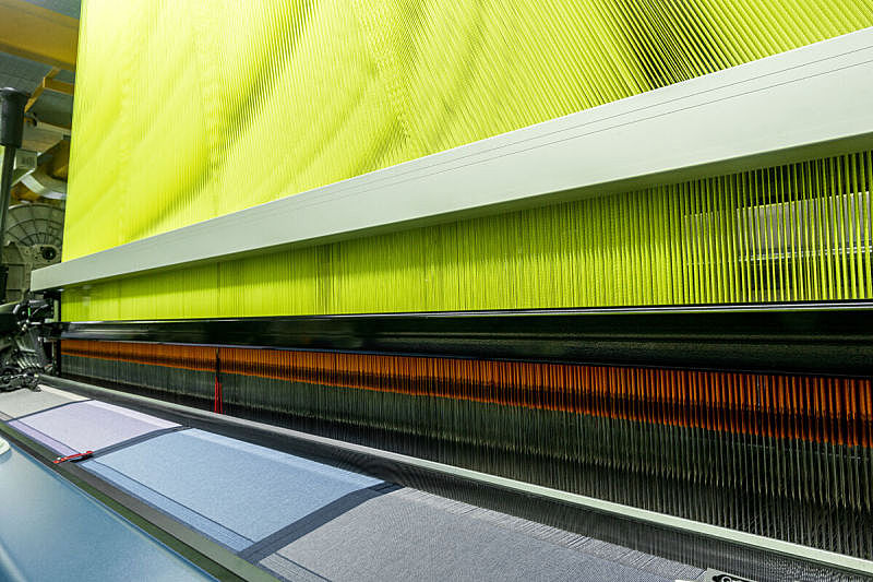 现代,自动的,手纺车,水平画幅,纺织品,纤维,制造机器,工厂,线绳,特写