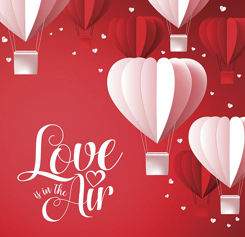 情人节,背景,字体,情人节卡,二月,热气球,心型,气球,华丽的,事件