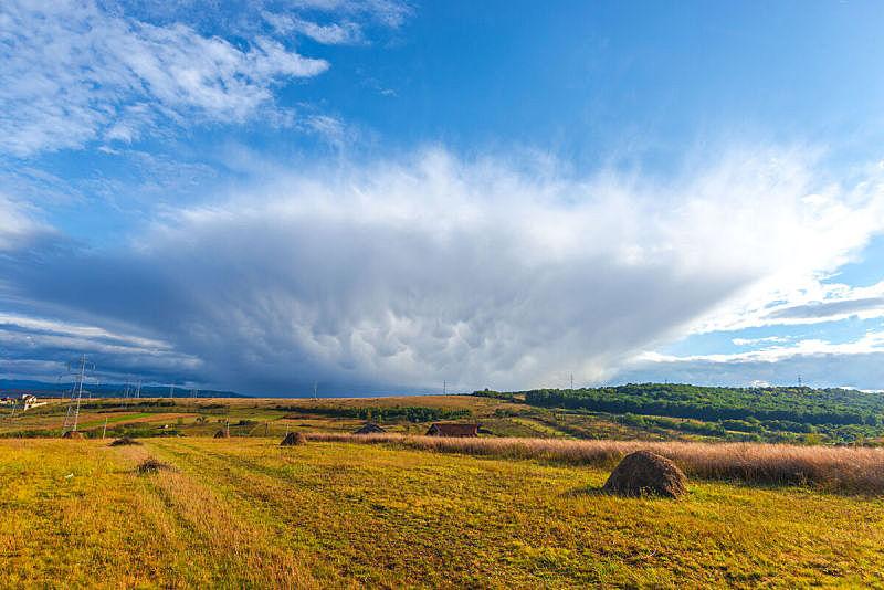 乌云,非凡的,秋天,罗马尼亚,风景,环境,云,图像,无人,暴风雨