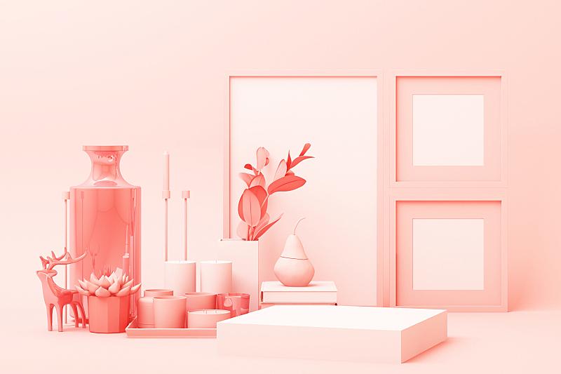 三维图形,粉色,几何形状,商品,极简构图,抽象,都市风光,出示,装饰,设计