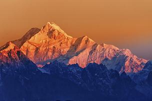黎明,山,锡金,透过窗户往外看,雪,早晨,顶部,高处,冬天,光