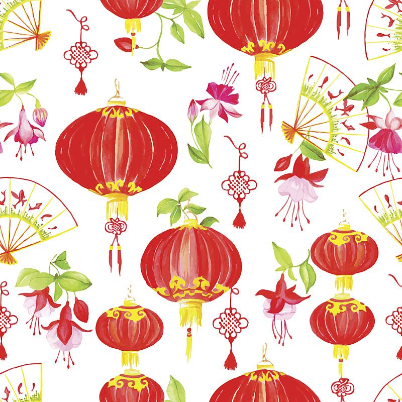 矢量,式样,传统,东方人,组物体,水彩画,折扇,可折叠的,锦鲤,水彩颜料