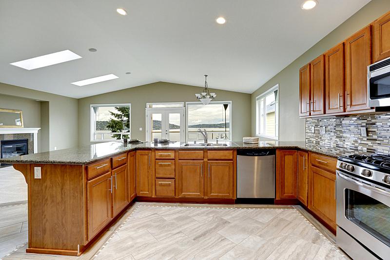 住宅房间,华贵,厨房,柜子,褐色,窗户,水平画幅,建筑,无人,豪宅