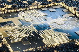 三维图形,黄金,电路板,计算机部件,中央处理器,有序,计算机,技术,现代,工程