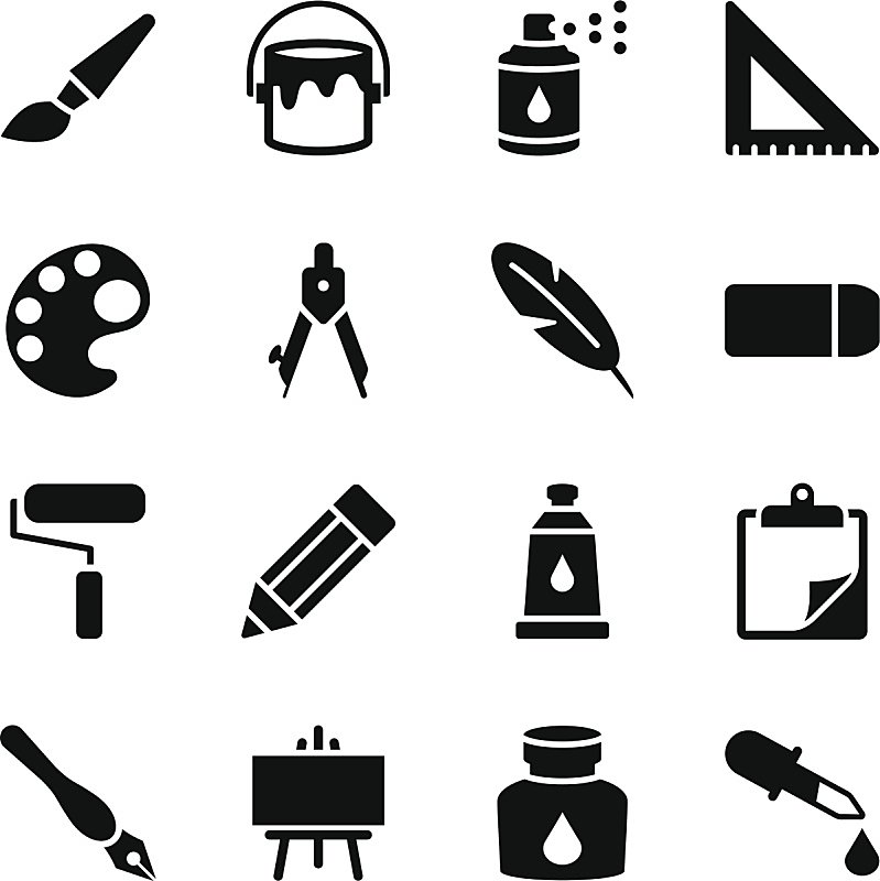 计算机图标,回形针,油漆罐,绘画插图,计算机制图,计算机图形学,画笔,滚刷,画画