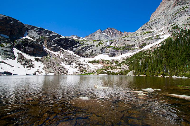 夏天,湖,洛矶山脉,黑色,冰河,水平画幅,高视角,雪,早晨,旅行者