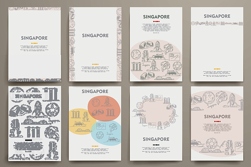 新加坡,矢量,乱画,身份,商务,化妆舞会服,海峡,绘画插图,符号,布置