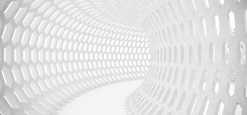 格子,六边形,隧道,抽象,铁丝网,混沌,未来,边框,水平画幅,形状