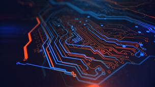 技术,蓝色,黄色,背景,数字化显示,橙色,复杂性,水平画幅,能源,无人
