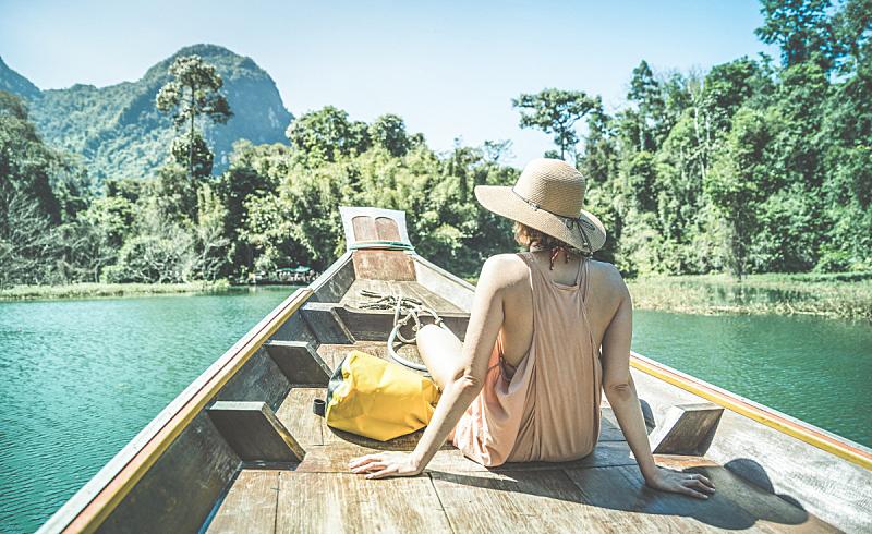 旅行者,湖,岛,长尾船,旅途,泰国,女孩,冒险,度假,旅行