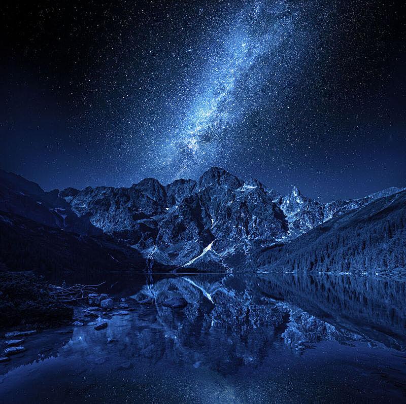 夜晚,湖,波兰,欧洲,银河系,山脉,水,天空,星系,水平画幅