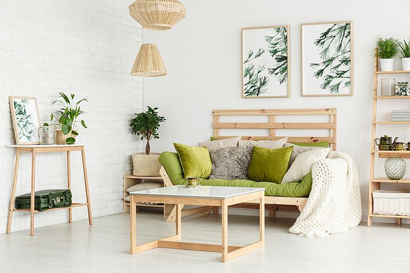 花纹,起居室,留白,水平画幅,砖墙,柳条,家庭生活,架子,家具