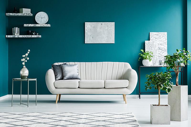 沙发,书桌,桌子,在之间,正面视角,水平画幅,银色,无人,架子,家具