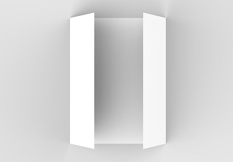 小册子,大门,折叠的,三维图形,轻蔑的,垂直画幅,灰色背景,柔和,正下方视角,重复