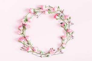 在上面,粉色背景,玫瑰,粉色,平铺,风景,留白,边框,艺术,水平画幅