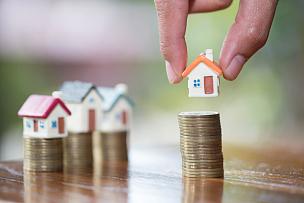 房地产,房屋,概念,手,储蓄,模型,抵押文件,叠,投资
