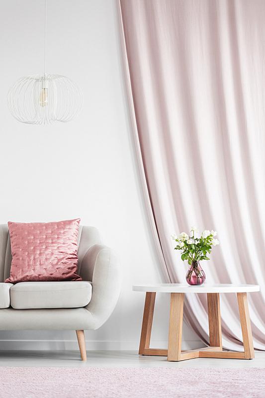灯,沙发,白色,米色,在上面,垂直画幅,无人,桃,家庭生活,家具