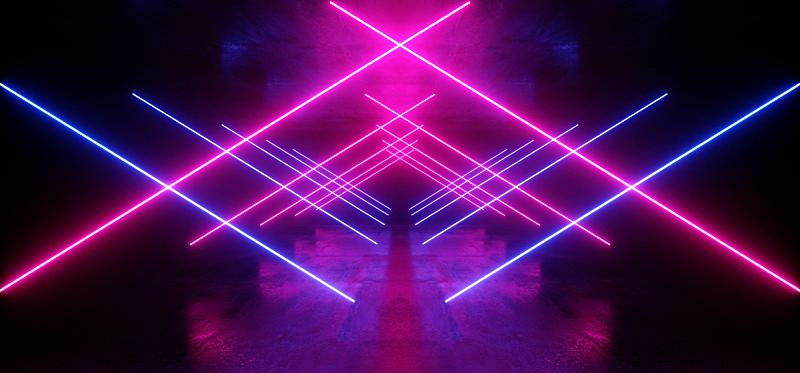 隧道,走廊,三维图形,未来,混凝土,荧光灯,霓虹灯,激光,蓝色,抽象
