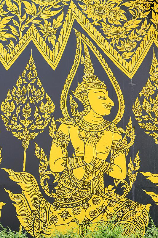 佛教,寺庙,部落艺术,柏林墙,垂直画幅,教堂,无人,图像,泰国,工艺品