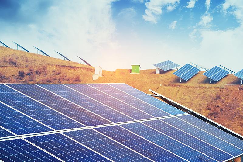 太阳能电池板,日光,明亮,电缆,天空,未来,新的,水平画幅,能源,无人
