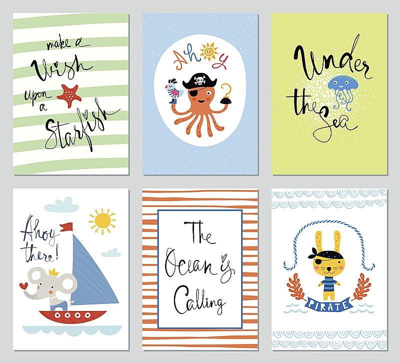 贺卡,儿童,全球通讯,绘画插图,夏天,生日,卡通,字体,条纹,海星