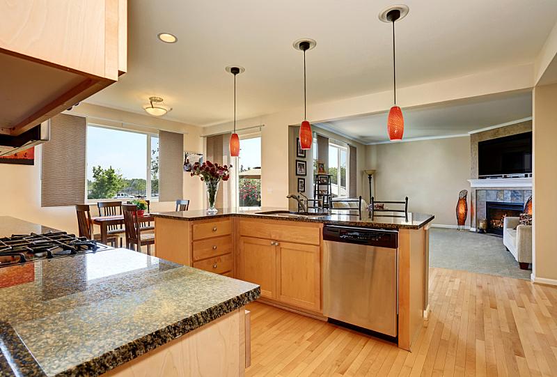 住宅房间,室内,灶台,厨房,花岗岩,计划书,易接近性,窗户,水平画幅,吧椅