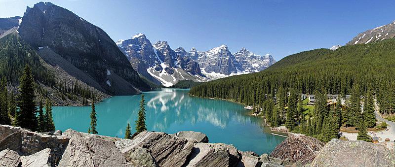 梦莲湖,班夫国家公园,加拿大,洛矶山脉,水平画幅,山,阿尔伯塔省,无人,全景,户外