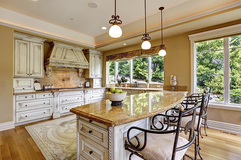 住宅房间,厨房,华贵,窗户,水平画幅,吧椅,建筑,无人,小毯子,豪宅