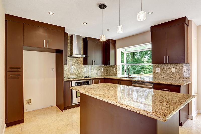 遮罩,住宅房间,褐色,花岗岩,厨房,闪亮的,极简构图,柜子,窗户,水平画幅
