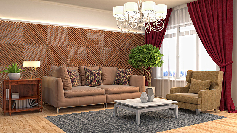室内,起居室,三维图形,绘画插图,普罗旺斯,扶手椅,褐色,座位,水平画幅,无人