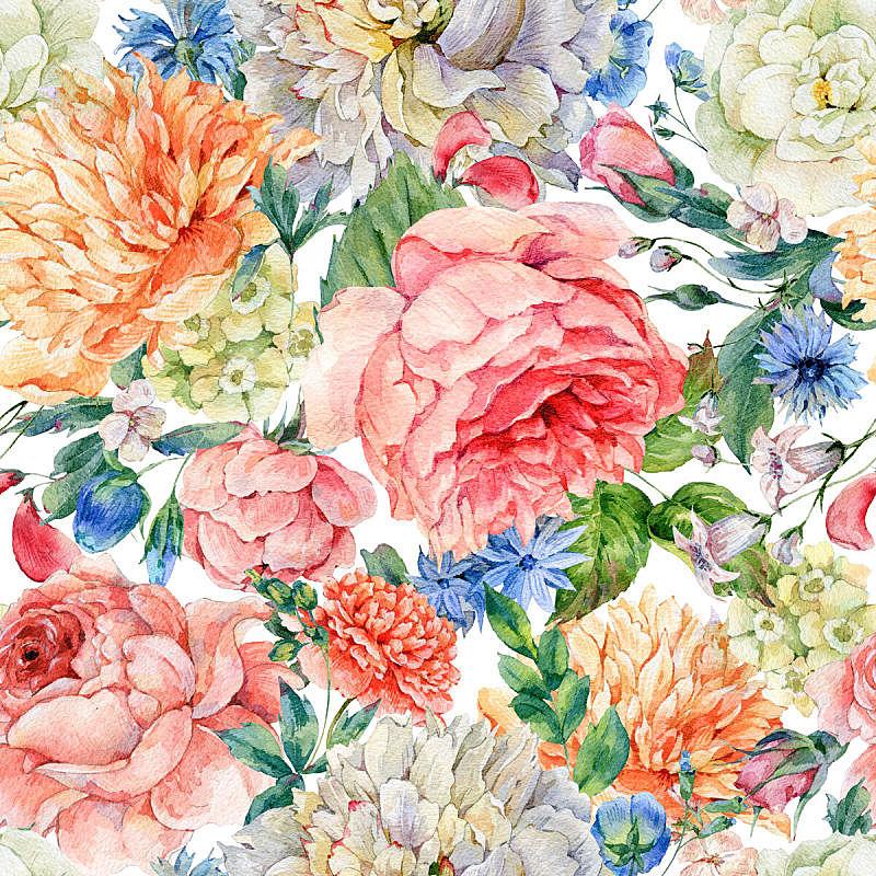 牡丹,水彩画,四方连续纹样,玫瑰,玫瑰色的,植物学,花卉花环,水彩颜料,贺卡,花