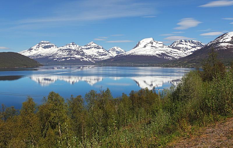 特隆姆瑟,峡湾,挪威,泉,盖伦格峡湾,罗弗敦,水,水平画幅,山,雪