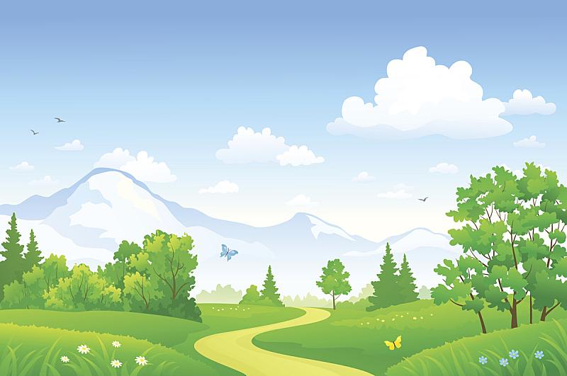 夏天,地形,森林,单车道,山,土路,小路,山脊,天空,枝繁叶茂