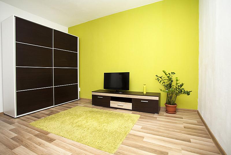 现代,室内,起居室,新的,水平画幅,墙,无人,地毯,家具,干净